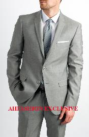 KA1331 Two Button Single Breasted Silver Grey Suit