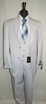 AC-987 Single Breasted Vested Suit Two Button Peaked Lapel