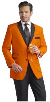 PLM71 Orange Two Button Notch Party Suit & Tuxedo