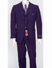 mens Purple Notch Lapel 3 Piece