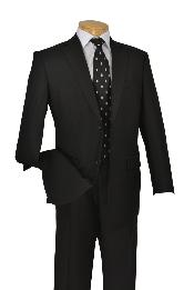 Poly-rayon Executive Pure Solid Liquid Jet Black Suit Notch