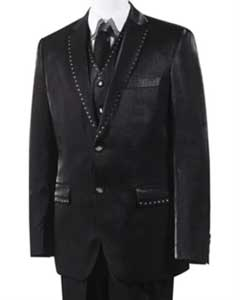 AC-847 Unique 2 Button Style Tuxedo Trimmed Pleated Slacks