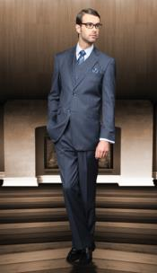 Classic3pc2ButtonStyleBlueAthleticCutSuits