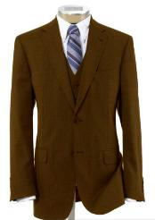 BER-TZ100 Mens Two Button Style Wool Fabric Vested brown