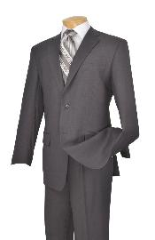 Poly-rayon Executive Pure Solid Gray Athletic Cut Suits Classic