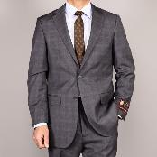 Side Vented Jacket & Flat Front Pants Grey Plaid