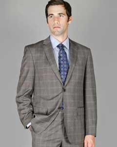 Mens Plaid Suit Grey Windowpane 2-Button