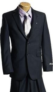 KA9128 Navy Tone/Tone 2 Button Style Superior Fabric Wool