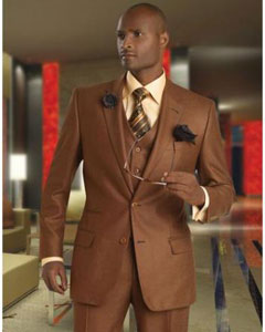 3a785d22795 RW-54 Solid Vested 3pc 2 Button Style Copper~Rust Suit