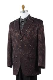 AC-829 Mens Unique Paisley Blazer Looking 2 Button Style