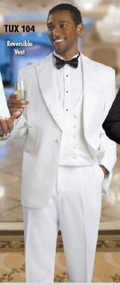 KA 2 Button Style Tuxedo White Suit