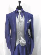 RA48 Two Toned Black and Purple Tuxedo Trimmed Jacket