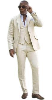Linen Vest  Tan Tuxedo