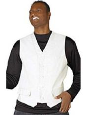 JSM-261 Mens 5 Button White V-Neck Fashion Dress Tuxedo