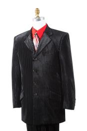 JA143 Mens Textured Velvet Black Zoot Suit Notch Lapel