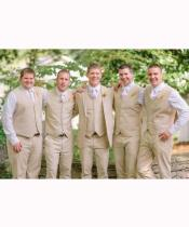 JSM-2858 Groomsmen Natural Sand Tan Linen Vest & Pants