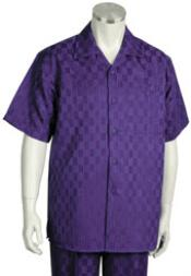 Short Sleeve Violet Dress Shirt