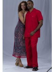 RA82 2 Piece Short Sleeve Walking Suit Red