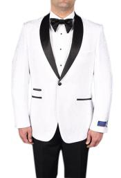 AP642 Mens White 1 Button Tuxedo Modern Geometric Pattern
