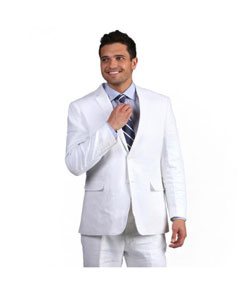 White Notch Lapel Classic Linen