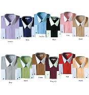PN92 Classic Stylish Fashionable Dress Shirt -white collars Multi-color