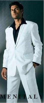 White Suit With Flat Front No Pleat Pants With