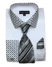JSM-1457 Mens White Cotton Blend Solid/Polka Dot Pattern With