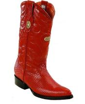 RM1240 White Diamonds J Toe Genuine Lizard Cognac Boots