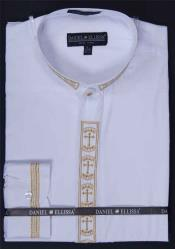 SM645 White Dress Shirt Banded Collar With Versatile Cross