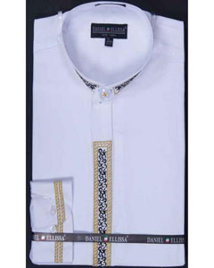 White Dress Shirt Embroidery Banded