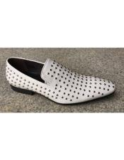 JSM-5450 Mens White Genuine Suede Leather Studs Design Slip-On