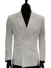 JSM-3968 Mens Lanzino White Double Breasted Slim Fit Solid