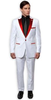 Slim Tux White with red