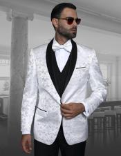 Mens Shawl Lapel White Shadow