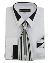 JSM-649 Mens French White Cuff Matching Tie and Hanky