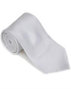 CG723 White 100% Silk Solid Necktie With Handkerchief
