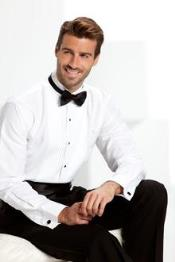 QY26L White Tuxedo shirt with bow tie Liquid Jet