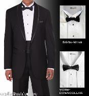PN_P54 Tuxedo Shirt Winged Tip Down Collar BowTie Set