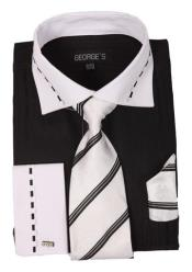 AA410 Men's Dress Shirt Set with White Collar and