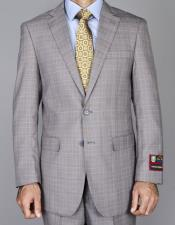 Mens Windowpane Single Breasted