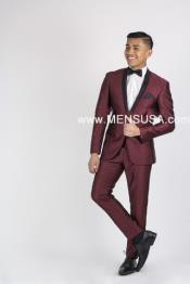 SM134 Burgundy Wine Maroon Suit Or Tuxedo Liquid Jet
