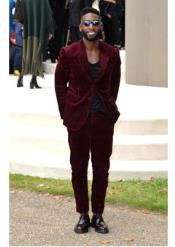 SS-741 Wine ~ Burgundy ~ Maroon Corduroy Athletic Cut