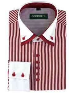 Product#SM484WineStandardCuffLongSleeveTwoToneStriped