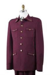 AA442 Safari Wine Nailshead Military Pocket Suit