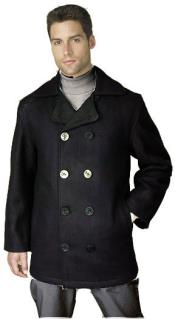 RM1339 Wool Fabric Top Notch Pea Coat Black