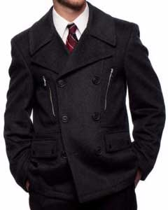 SS-1745 Wool Fabric Blend Double Breasted Center Vent Peacoat