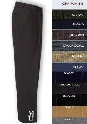 ISL845 FLAT FRONT No Pleat Wool Fabric DRESS PANTS