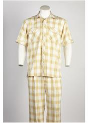 SD328 Mens Yellow Short Sleeve 2 piece Walking Suit