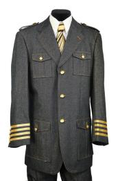 mens Military Style Tri-Stripe Zoot
