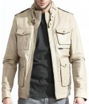 PN-R48 Military Inspired Leather Field Jacket With A Slim